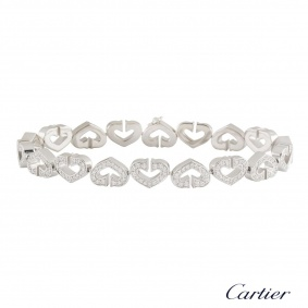 Cartier White Gold Diamond Hearts & Symbols Bracelet 1.81ct